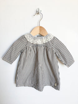 Carrément Beau Dresses + Skirts 1m / Gently Used Re-Cycle Striped Dress with Lace Collar