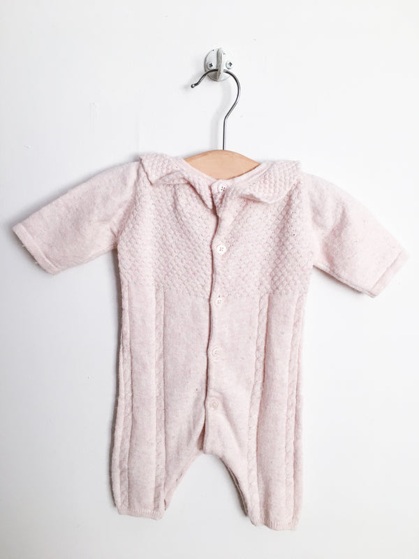 Carrément Beau Rompers + Overalls 1m / Gently Used Re-Cycle Light Pink Knit Jumpsuit