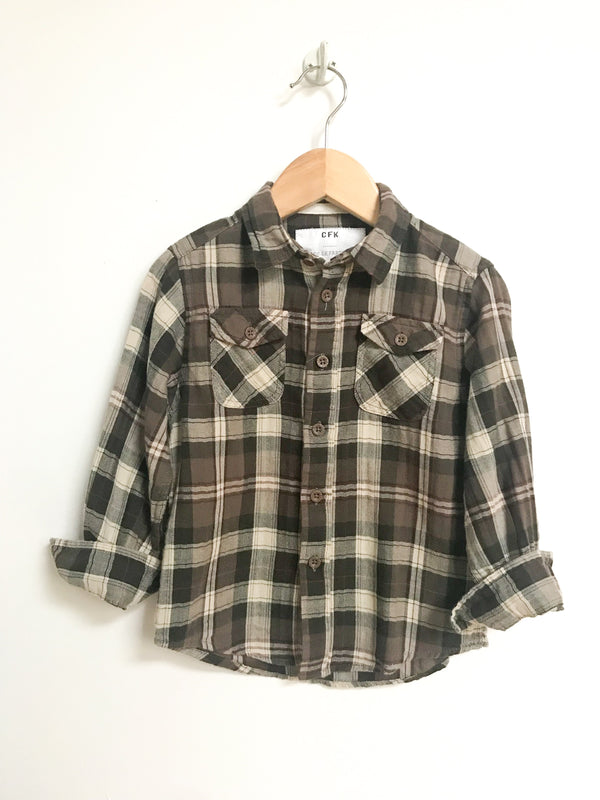 CFK Shirts 3y / Gently Used Re-Cycle Green Plaid Flannel Collar Shirt