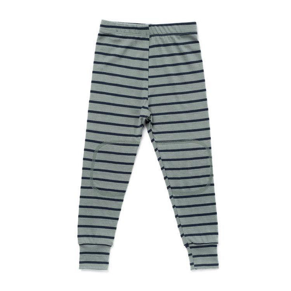 Chasing Windmills Long Underwear Thermal Long Johns - Agave with Navy Stripe