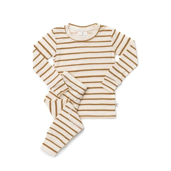 Chasing Windmills Long Underwear Thermal Long Johns - Ochre Stripe