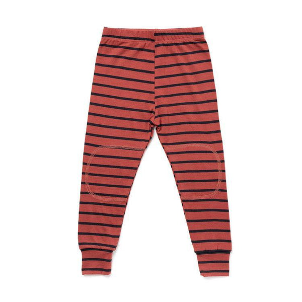 Chasing Windmills Long Underwear Thermal Long Johns - Rust with Navy Stripe