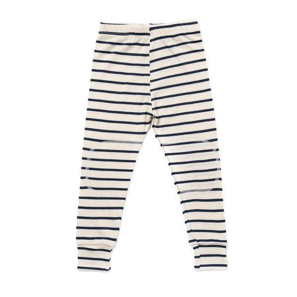 Chasing Windmills Underwear Thermal Long Johns - Natural with Navy Stripe