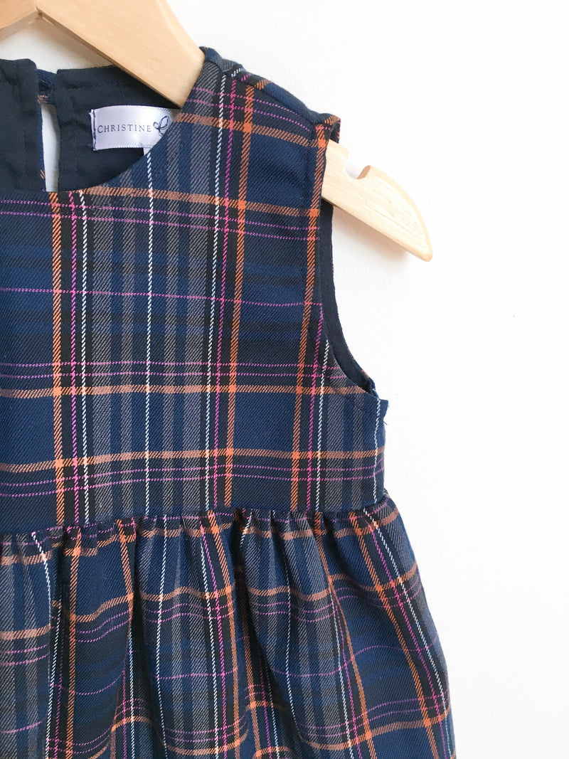 Christine Gosme Dresses + Skirts 2T / Gently Used Re-Cycle Navy Plaid Dress