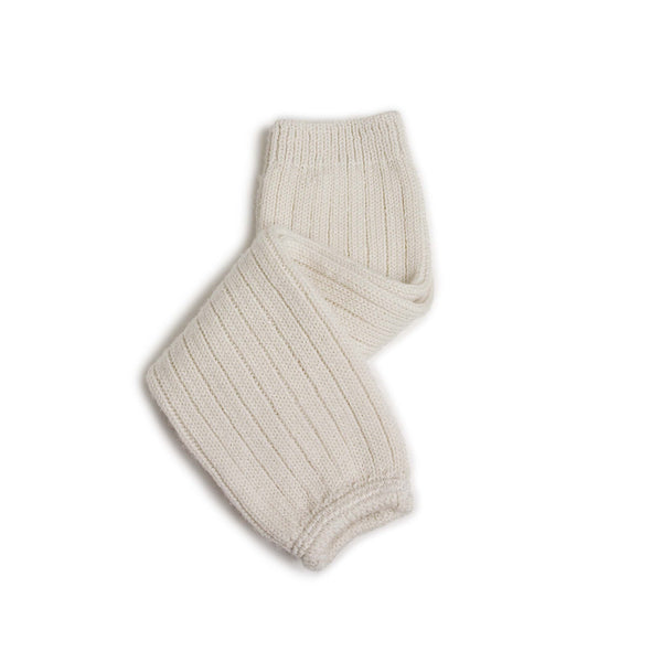 Collegien Accessories O/S Helene Merino Wool Ribbed Legwarmers - Soft Lamb White
