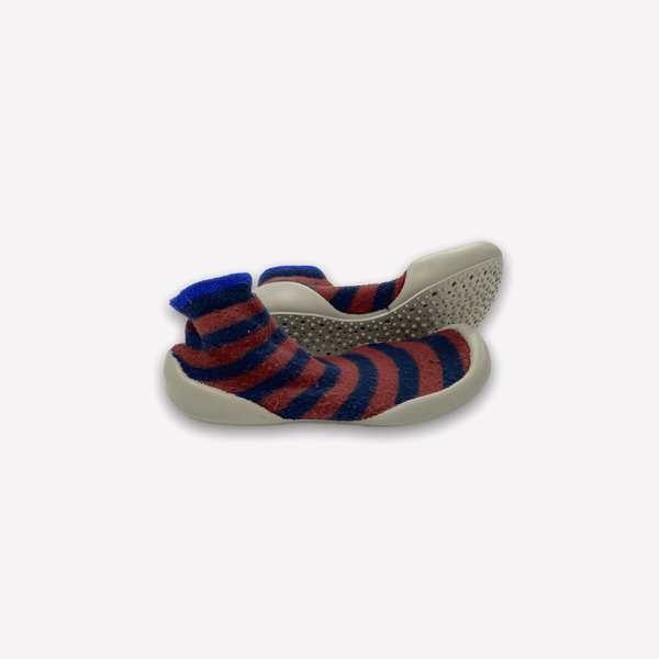Collegien Slippers US 11-12 / Preloved Re-Cycle Chaussons Safety Stripes