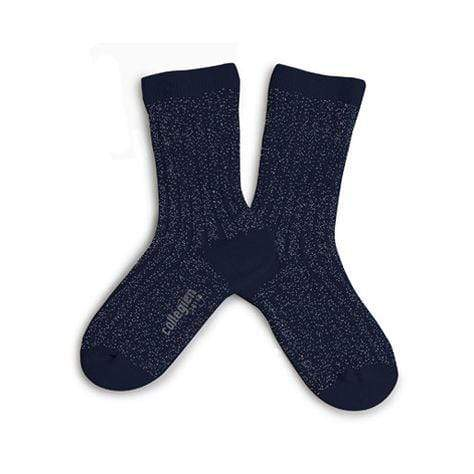Collegien Tights Glittery Victoire Ribbed Socks - Starry Night Blue