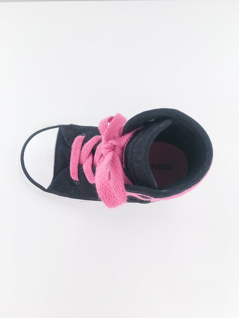 Converse Shoes US 6 / Gently Used Re-Cycle Black and Pink High Top Sneaker