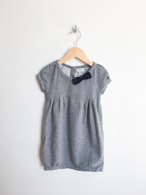 Cyrillus Dresses + Skirts 4y / Gently Used Re-Cycle Grey Polka-dot Dress with Bow