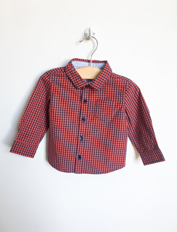 Cyrillus Shirts 9m / Gently Used Re-Cycle Red and Blue Checked Shirt