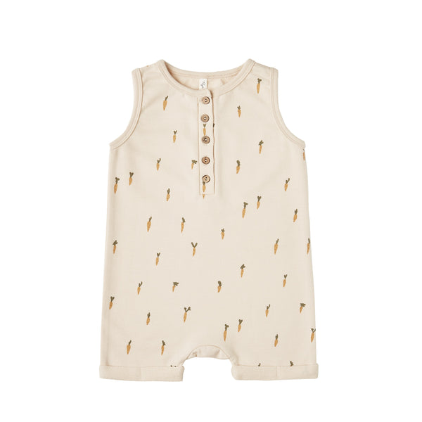 Printed Davis Romper - Natural/Carrots