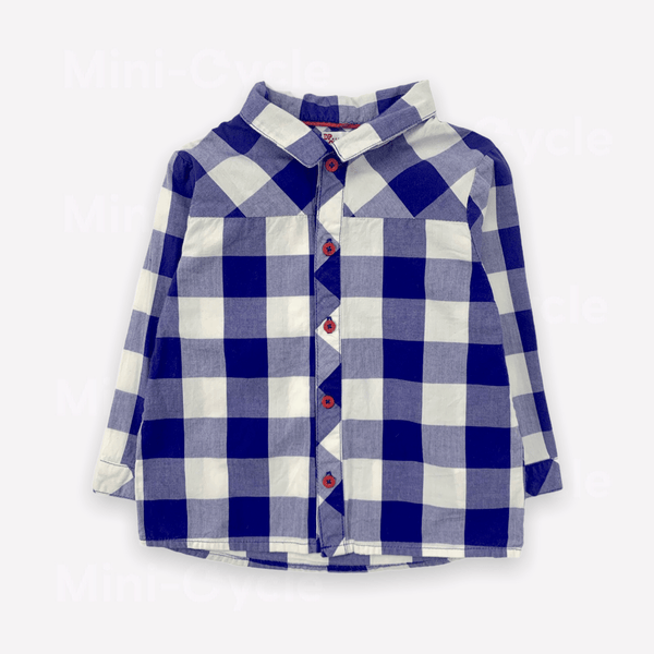 Dp...am Shirt 12m / Preloved Re-Cycle Checkered Royal Blue Shirt