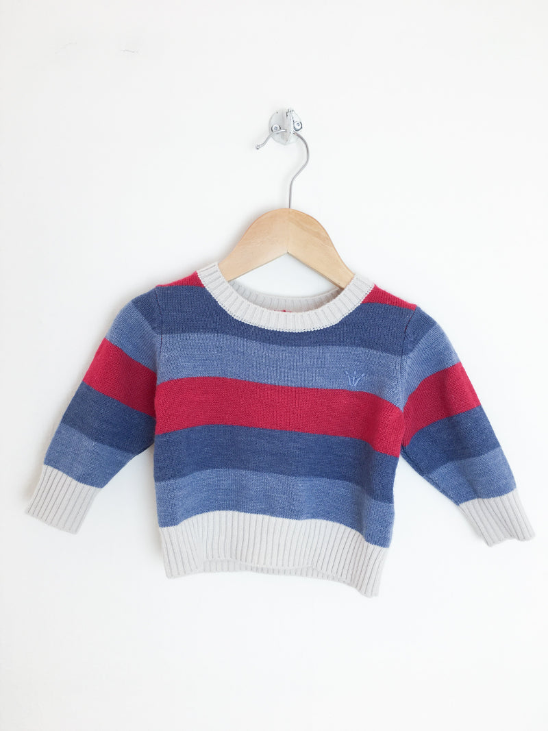 EPK Sweaters 6m / Gently Used Re-Cycle Red and Blue Stripe Baby Sweater