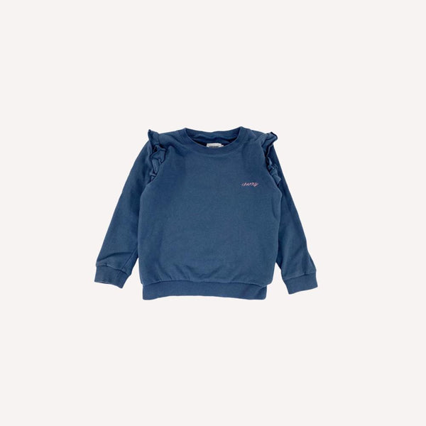 Filou & Friends Sweatshirt 5y / Like New Re-Cycle Embroidered Blue Sweatshirt