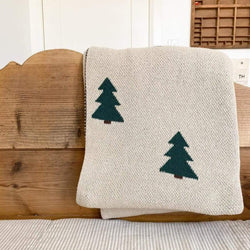 Fin & Vince Blankets O/S Knit Blanket Pine Tree - Throw