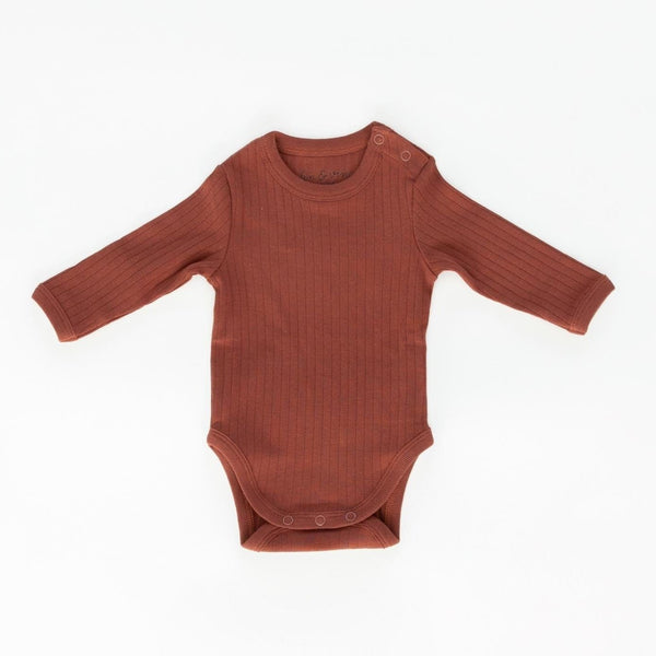 Fin & Vince Onesie Ribbed Long Sleeve Onesie - Gingerbread