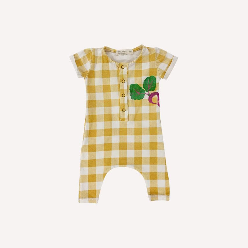 Fin & Vince Romper 0-3m / Preloved Re-Cycle Checkered Yellow Radish Romper