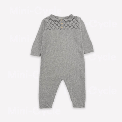 Fin & Vince Romper 12m / Like New Re-Cycle Grey Argyle Knit Romper