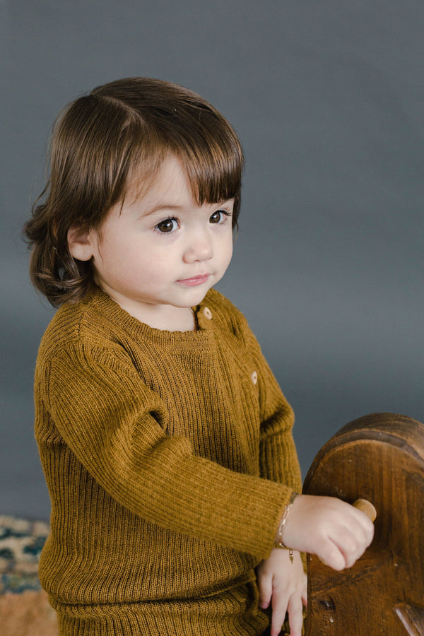 Fin & Vince Sweaters Ribbed Alpaca Baby Sweater - Honeycomb