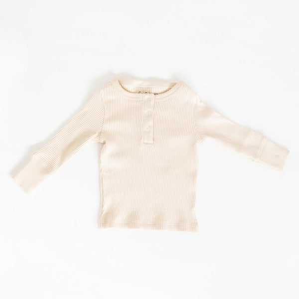 Fin & Vince Top Ribbed Henley - Milk