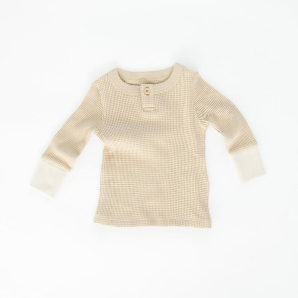 Fin & Vince Top Waffle Henley - Almond
