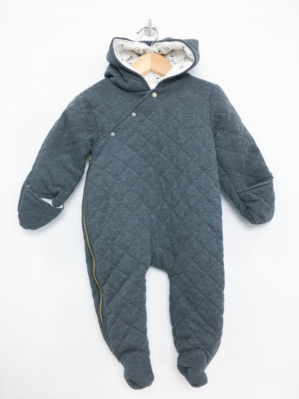 First Wish Outerwear 6-9m / New with Tag Re-Cycle Charcoal Quilted Outdoor Suit