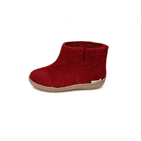 Glerups Slippers Wool Low Boot Slippers - Red