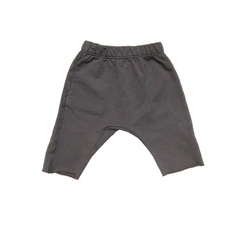 Go Gently Nation Bottoms 12-18m Re-Cycle Charcoal Raw Hem Track Short