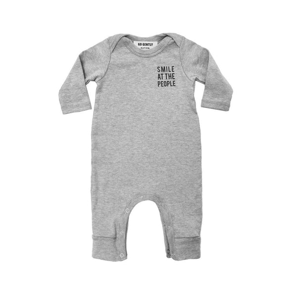 "Go Gently Nation Rompers + Overalls 3-6m ""Smile at the People"" Romper - Heather Gray"