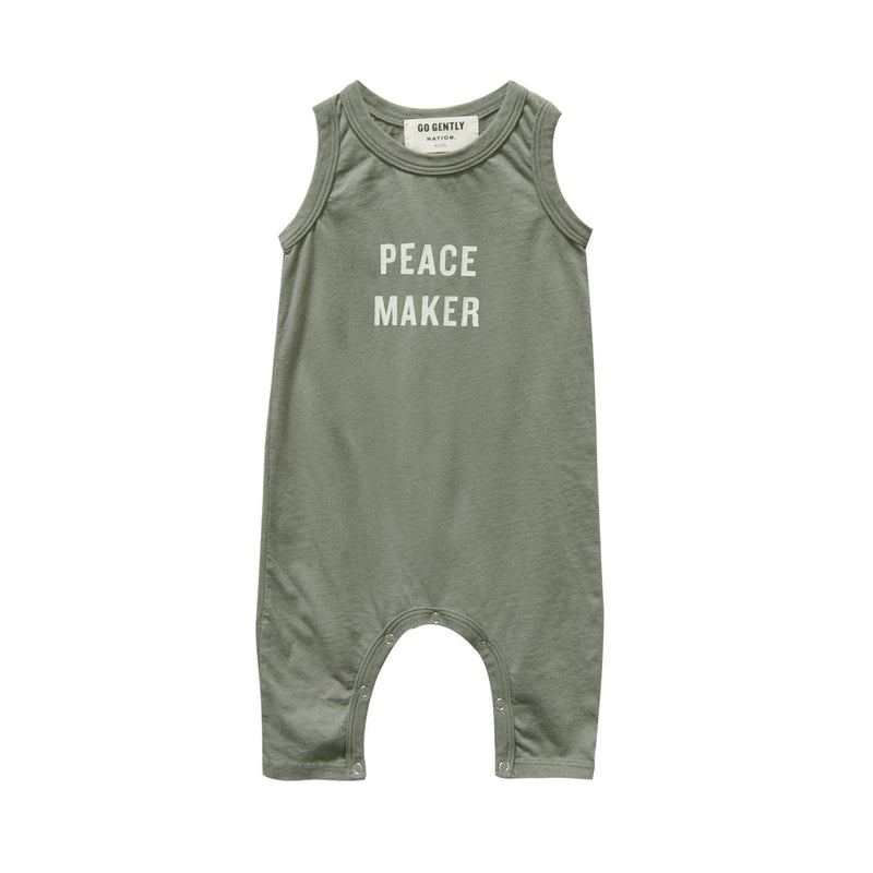 Go Gently Nation Rompers Peace Maker Long Romper - Thyme