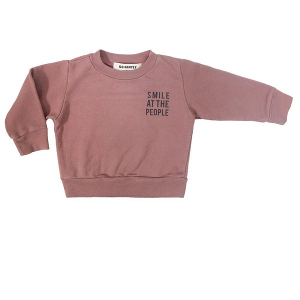 "Go Gently Nation Sweaters 0-3m ""Smile at the People"" Crewneck - Cinnamon"