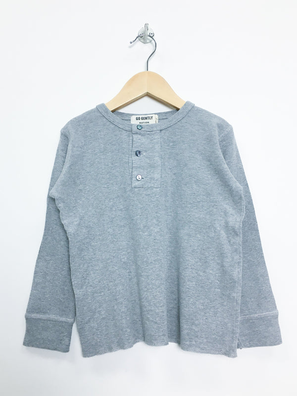 Go Gently Nation T-Shirt 4T / Gently Used Re-Cycle Wide Placket Henley- Grey