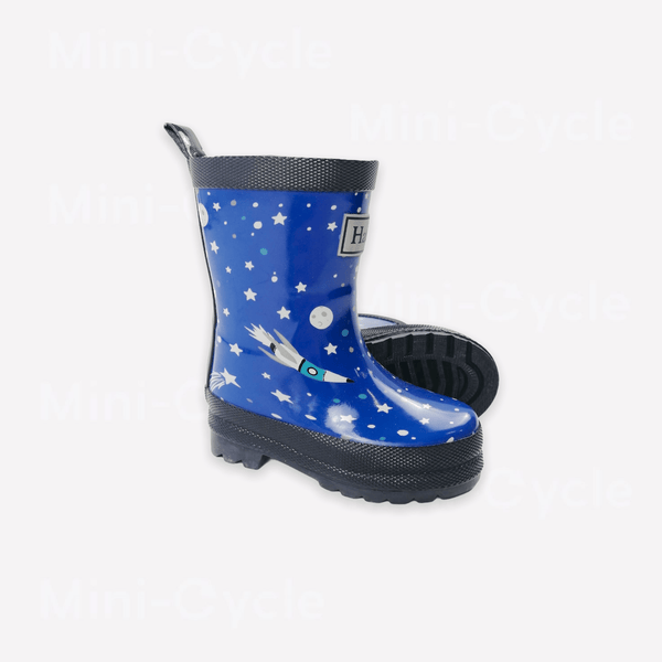 Hatley Boots US 4 / Like New Re-Cycle Graphic Blue Space Rain Boots