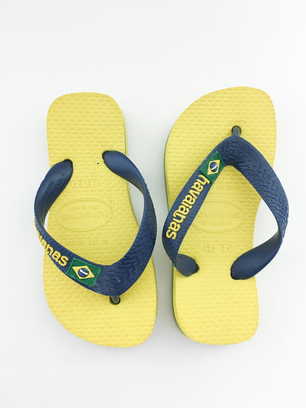 Havaianas Sandals EUR 23-24 / Like New Re-Cycle Yellow Brazil Flip-Flop Sandals