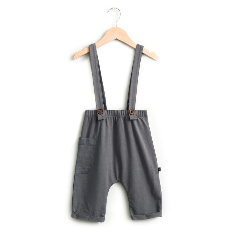 Haven Kids Bottoms 0-6m Blue-Grey Suspender Crop Pants