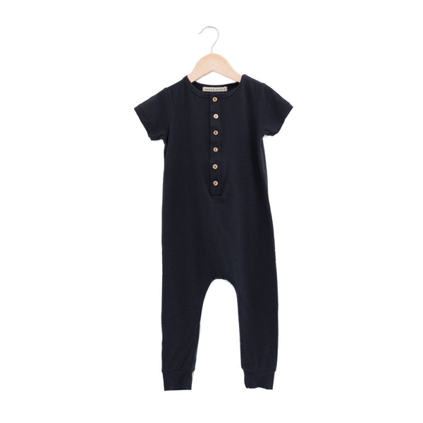 Haven Kids Rompers Henley Romper - Vintage Black