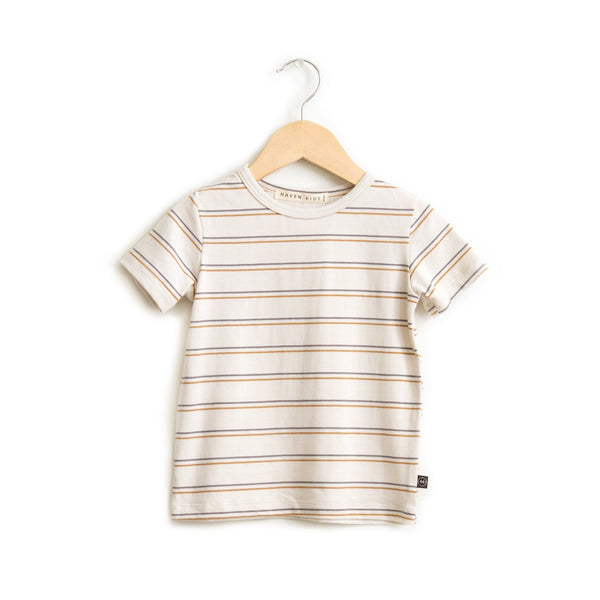 Haven Kids Tops + Bodysuits 0-6m Crew Neck Tee - Vintage Stripes
