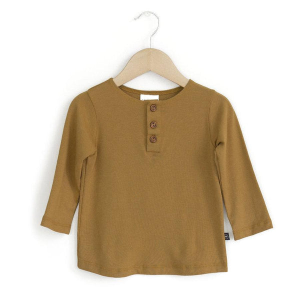 Haven Kids Tops + Bodysuits 0-6m Henley Tee Bronze Mist