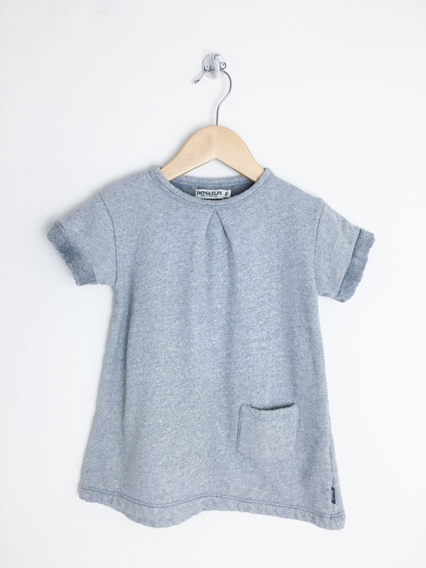 Imps&Elfs Dresses + Skirts Re-Cycle Soft Cotton Short Sleeve Grey Dress