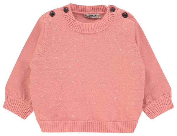 Imps&Elfs Sweaters 0-3m Dusty Pink Hearts Jumper
