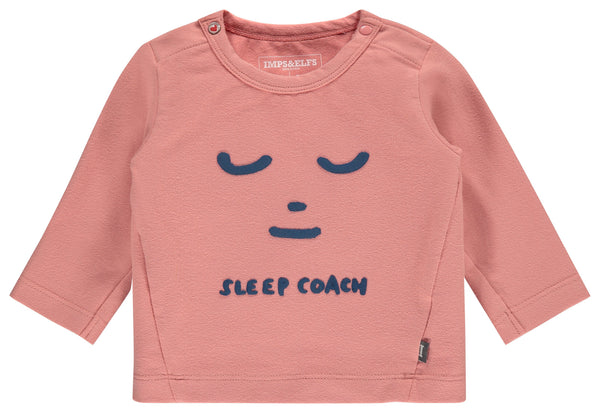 "Imps&Elfs Tops + Bodysuits 0-3m Dusty Pink ""SLEEP COACH"" Long Sleeve T-Shirt"