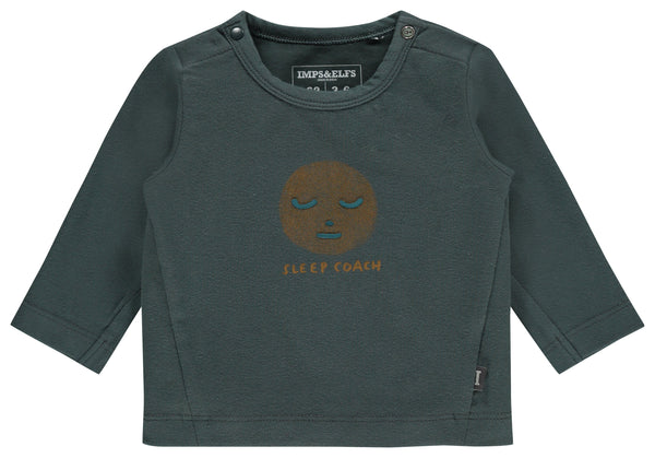 "Imps&Elfs Tops + Bodysuits 0-3m Forest Green ""SLEEP COACH"" Long Sleeve T-Shirt"