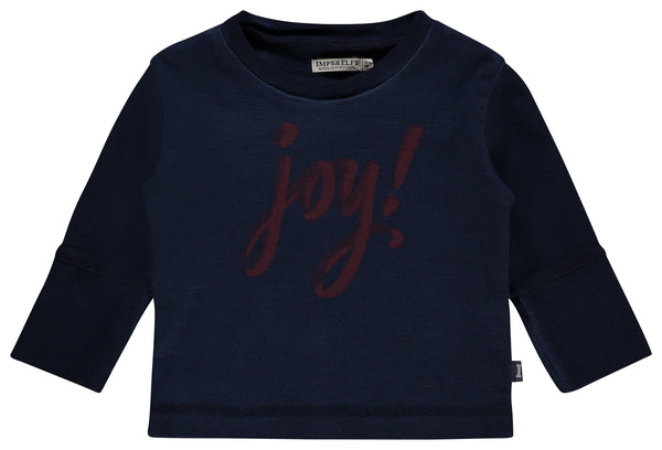 "Imps&Elfs Tops + Bodysuits 3-6m Ultra Marine ""JOY"" Long Sleeve T-Shirt"