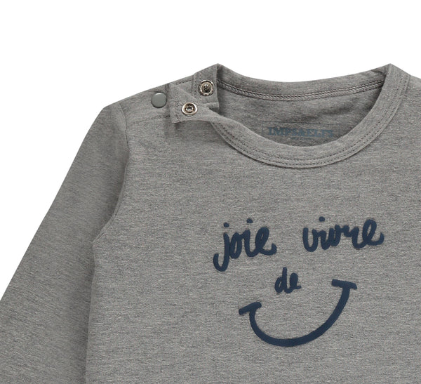 "Imps&Elfs Tops + Bodysuits 9-12m Concrete Grey ""joie de vivre"" Long Sleeve T-Shirt - 2y"
