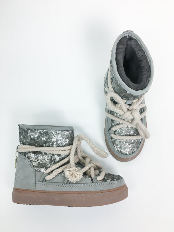 Inuikii Boots EUR 28 / Like New Re-Cycle Gold-Beige Sneaker Boots | Wool and Leather