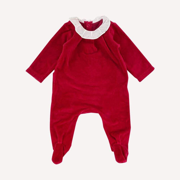 Jacadi Footed 3m / Preloved Re-Cycle Solid Red Footed Velour Pyjama
