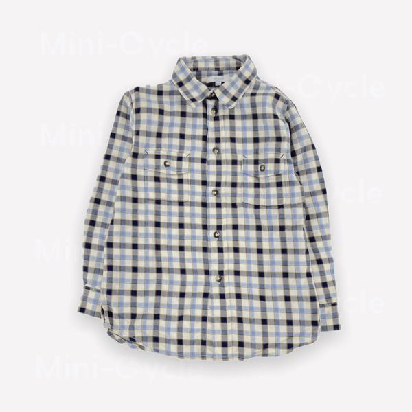 Jacadi Shirt 6y / Preloved Re-Cycle Checkered Blue Shirt
