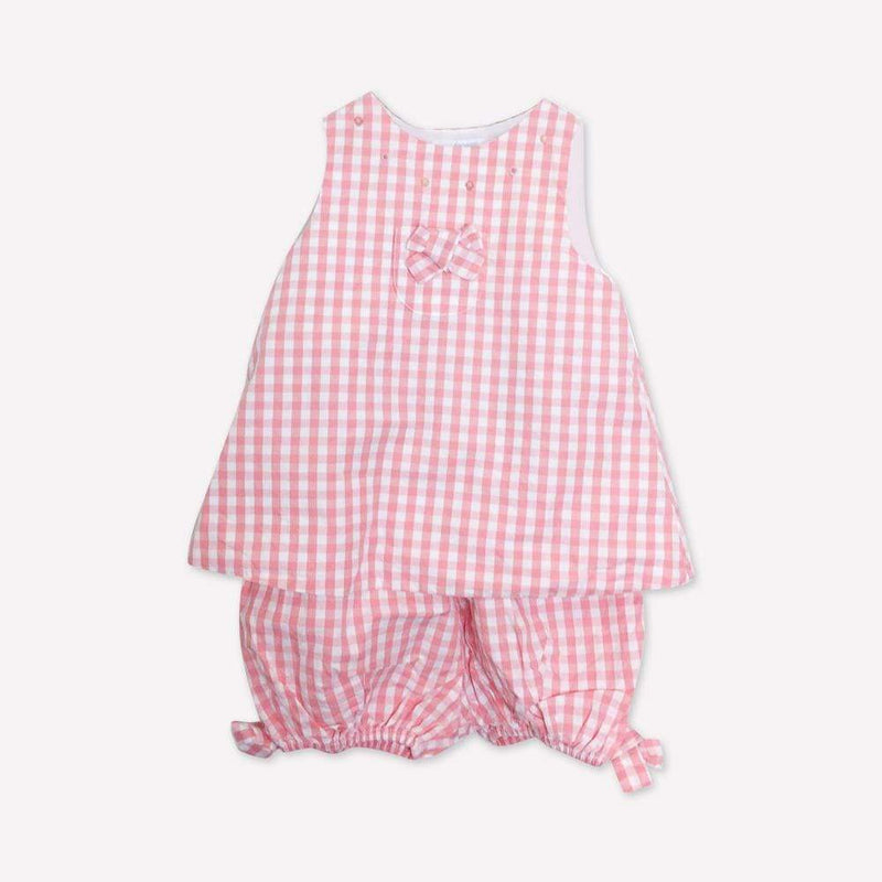 Jacadi Top + Bloomers 6m / Like New Re-Cycle Checkered Pink Top + Bloomers