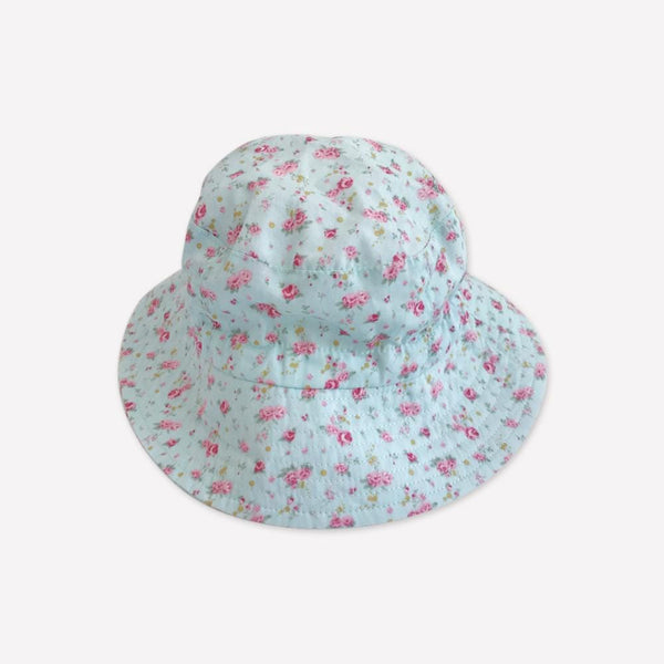 Jan & Jul Summer Hat 0-6m / Like New Re-Cycle Floral Blue Summer Hat