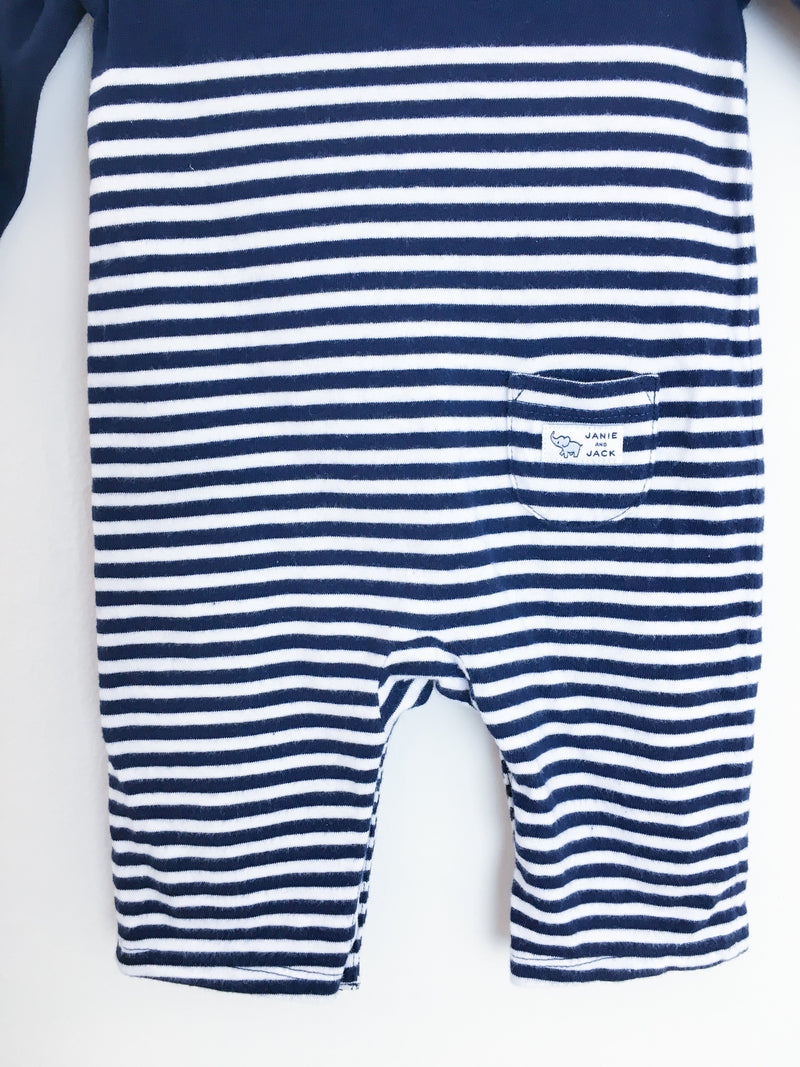 Janie and Jack Rompers 0-3m / Gently Used Re-Cycle Blue and White Striped Long-Sleeve Baby Jumpsuit